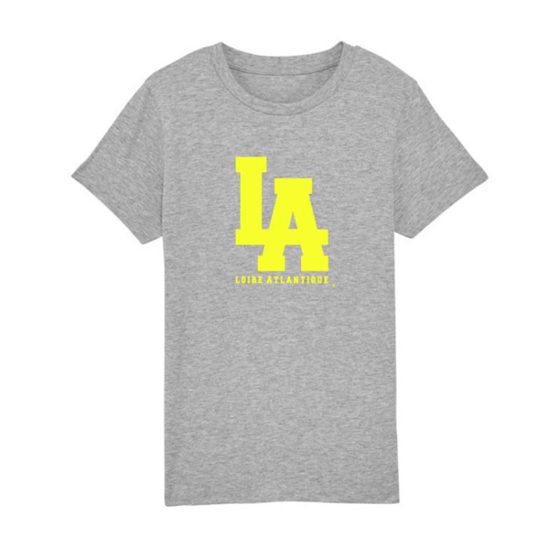 T-Shirt Classic Gris L.A Jaune Fluo-Nantes-L.A Loire Atlantique-La Baule