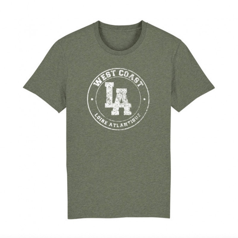 T-Shirt-Khaki-Vintage-West Coast Blanc-Classic L.A Loire Atlantique-La Baule-Nantes