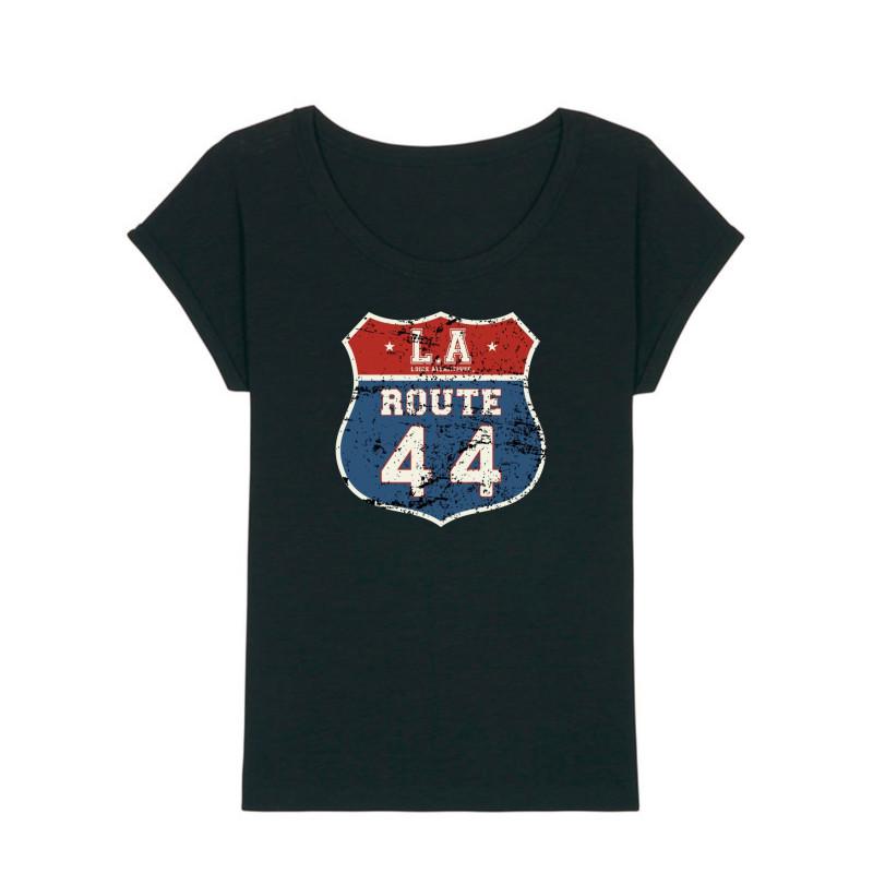 T-Shirt Femme Black Route 44, Mythique, L.A Loire Atlantique, Tee Shirt slub, bas de manche replié, Nantes, La Baule.