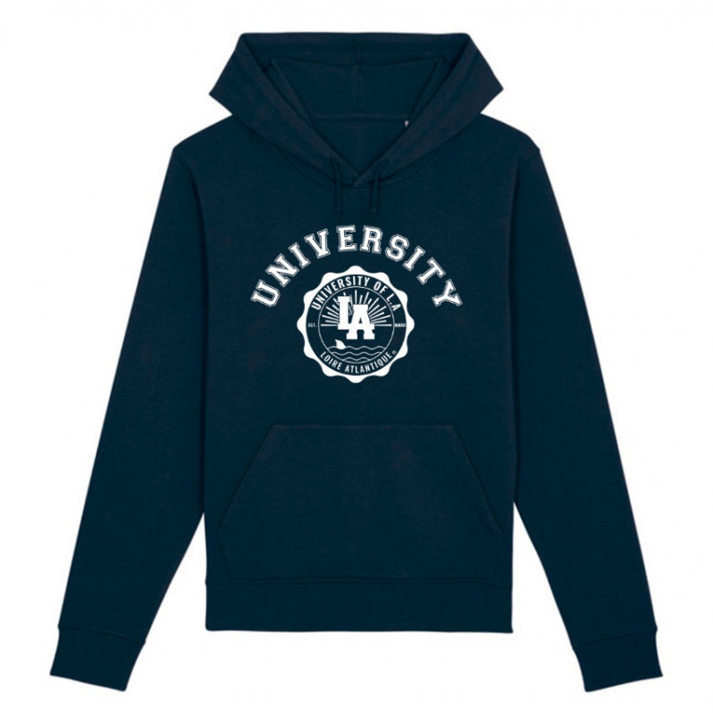 Sweat Capuche Navy University, étudiants, Nantes, 44, West Coast, L.A Loire Atlantique, La Baule.